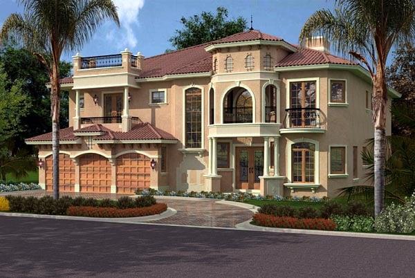 Italian, Mediterranean House Plan 55774 with 5 Beds, 7 Baths, 3 Car Garage Elevation