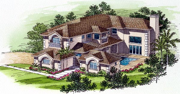 Florida House Plan 55777 Elevation