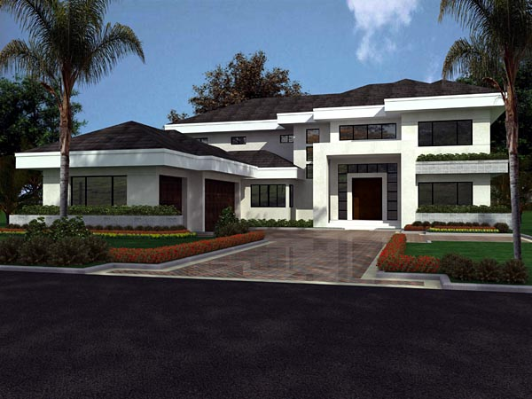 Florida, Modern House Plan 55782 with 5 Beds, 5 Baths, 3 Car Garage