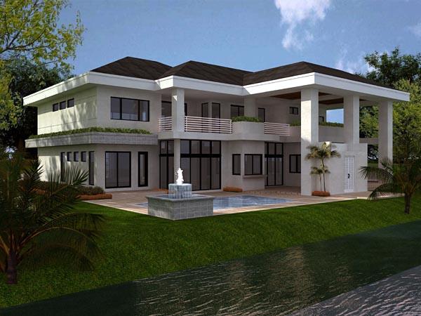 Florida Modern House Plan 55782 Rear Elevation