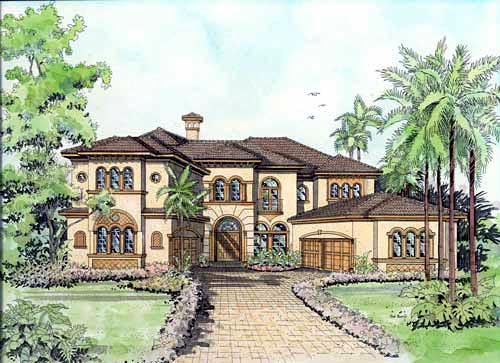 Italian Mediterranean House Plan 55786 Elevation