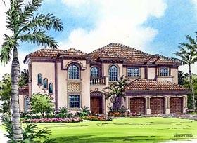 Mediterranean House Plan 55787 with 5 Beds, 6 Baths, 3 Car Garage Elevation