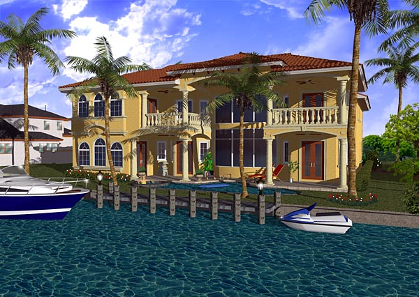 Mediterranean House Plan 55795 Rear Elevation