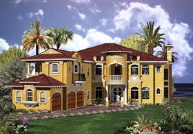 Mediterranean House Plan 55803 with 6 Beds, 8 Baths, 3 Car Garage Elevation