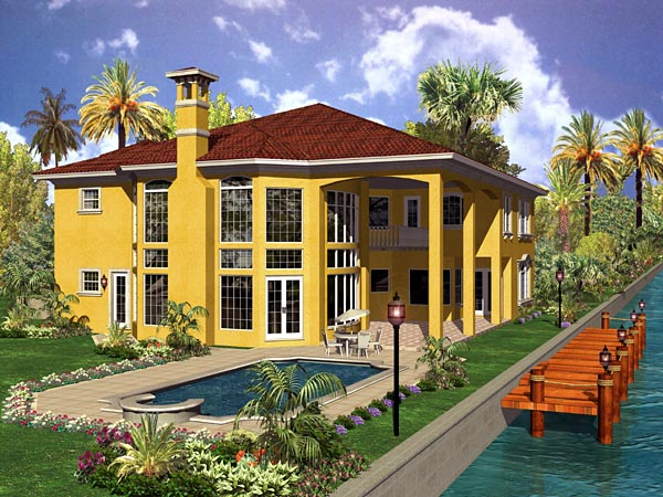 Mediterranean House Plan 55803 with 6 Beds, 8 Baths, 3 Car Garage Rear Elevation