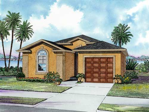 One-Story House Plan 55810 with 3 Beds, 2 Baths, 1 Car Garage Elevation