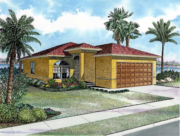 Narrow Lot, One-Story House Plan 55811 with 3 Beds, 2 Baths, 2 Car Garage Elevation