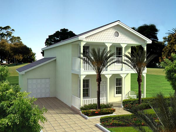 Florida, Narrow Lot House Plan 55813 with 3 Beds, 3 Baths, 1 Car Garage Elevation