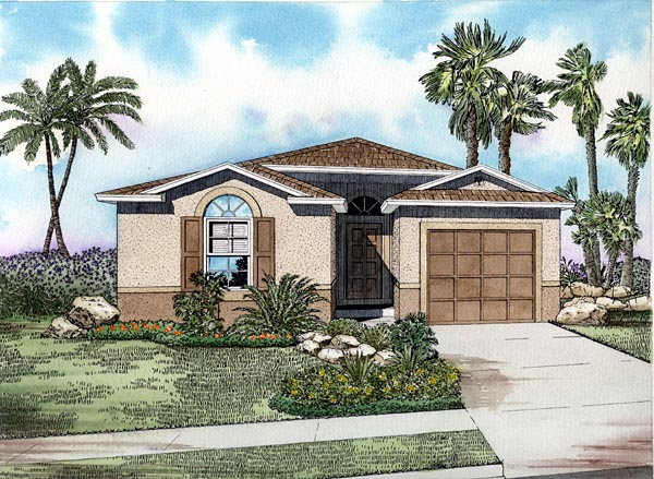 Narrow Lot, One-Story House Plan 55815 with 3 Beds, 2 Baths, 2 Car Garage Elevation