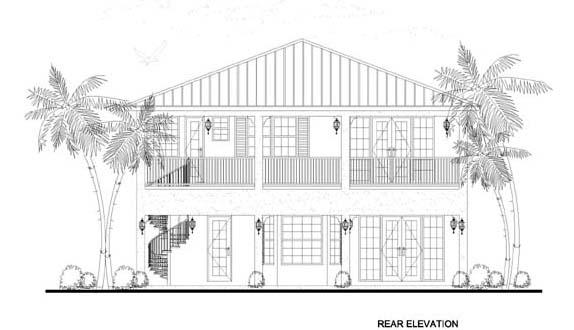 Florida House Plan 55832 Rear Elevation