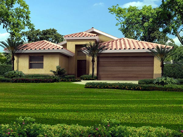 Florida, One-Story House Plan 55859 with 3 Beds, 2 Baths, 2 Car Garage Elevation