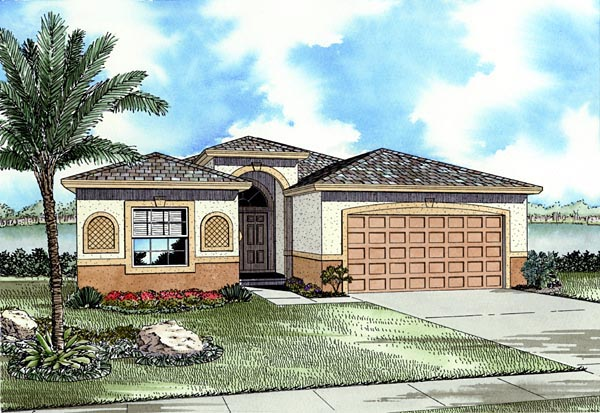 Florida, One-Story House Plan 55859 with 3 Beds, 2 Baths, 2 Car Garage Picture 1