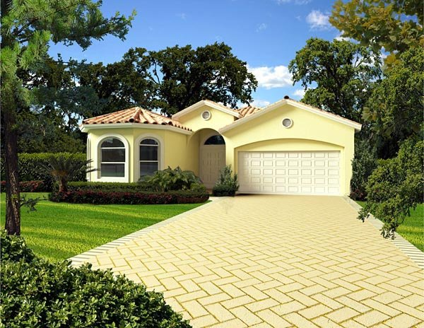 Florida, Narrow Lot, One-Story House Plan 55865 with 4 Beds, 3 Baths, 2 Car Garage Picture 1