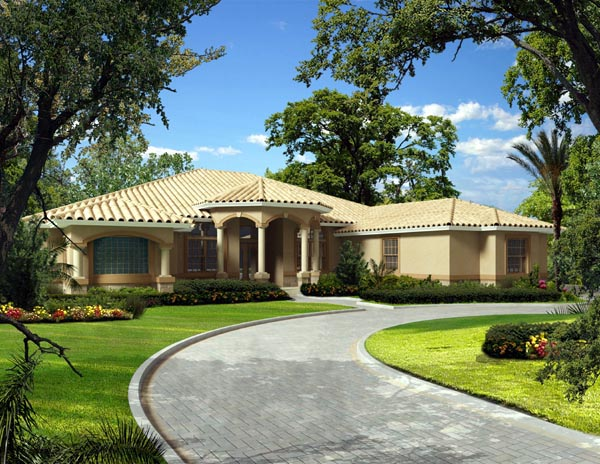 Mediterranean, One-Story House Plan 55891 with 5 Beds, 5 Baths, 3 Car Garage Elevation
