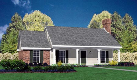 House Plan 56010 | Colonial Style Plan with 1157 Sq Ft, 3 Bedrooms, 2 Bathrooms, 2 Car Garage Elevation