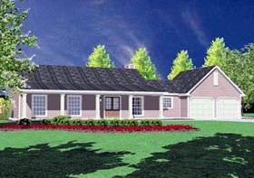 House Plan 56028 | Country Style Plan with 1400 Sq Ft, 3 Bedrooms, 2 Bathrooms, 2 Car Garage Elevation