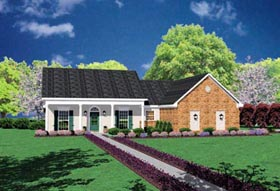 House Plan 56036 | European Style Plan with 1320 Sq Ft, 3 Bed, 2 Bath, 2 Car Garage Elevation