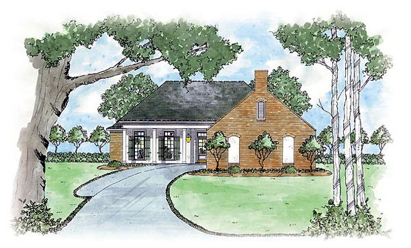 European House Plan 56037 Elevation