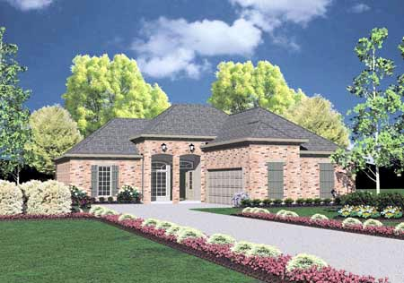 House Plan 56038 | European Style Plan with 1381 Sq Ft, 3 Bedrooms, 2 Bathrooms, 2 Car Garage Elevation