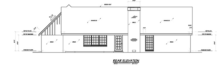 Country , Rear Elevation of Plan 56041