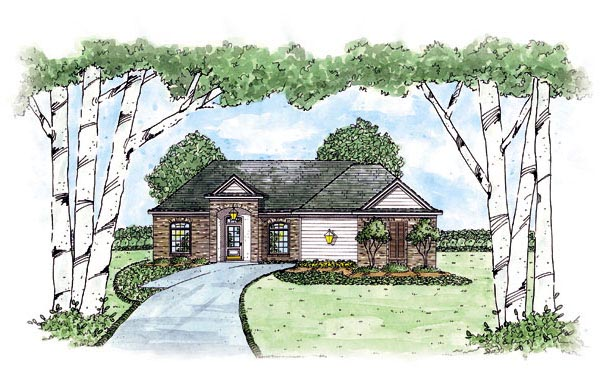 European House Plan 56072 Elevation