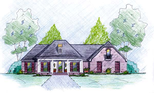 Traditional House Plan 56079 with 4 Beds, 2 Baths, 2 Car Garage Elevation