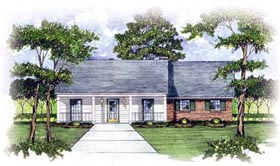Ranch House Plan 56085 with 3 Beds, 2 Baths Elevation