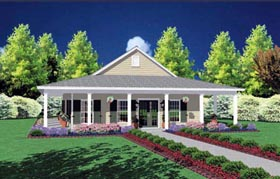 House Plan 56092 | Country Style Plan with 1567 Sq Ft, 3 Bedrooms, 2 Bathrooms Elevation