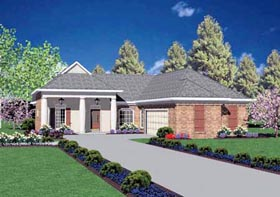 House Plan 56115 | Colonial Style Plan with 1631 Sq Ft, 3 Bedrooms, 2 Bathrooms, 2 Car Garage Elevation