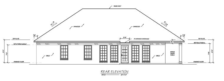 European House Plan 56156 Rear Elevation