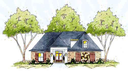 House Plan 56158 | European Style Plan with 1824 Sq Ft, 3 Bedrooms, 2 Bathrooms, 2 Car Garage Elevation