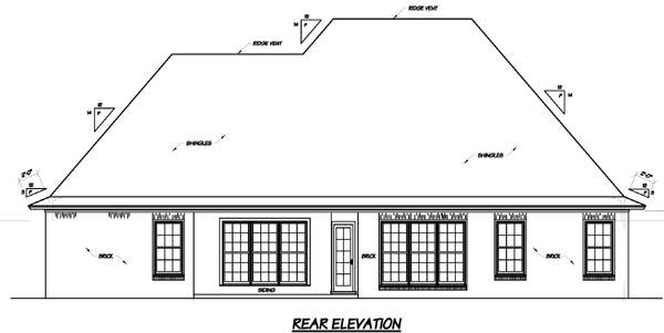 European House Plan 56159 Rear Elevation