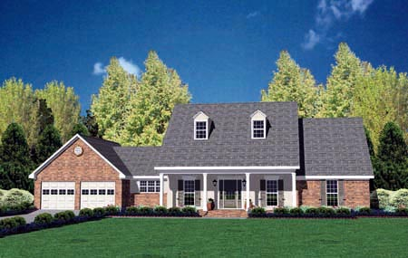 Country House Plan 56173 with 3 Beds, 2 Baths, 2 Car Garage Elevation
