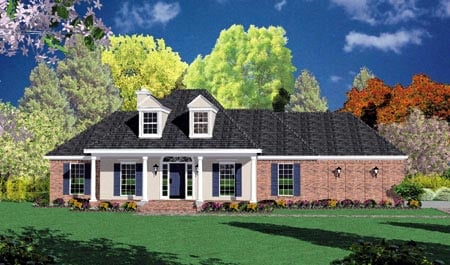 Colonial House Plan 56176 with 3 Beds, 2 Baths, 2 Car Garage Elevation