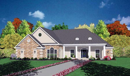 European House Plan 56181 Elevation