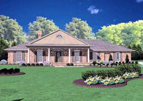 Colonial House Plan 56208 with 3 Beds, 3 Baths, 2 Car Garage Elevation