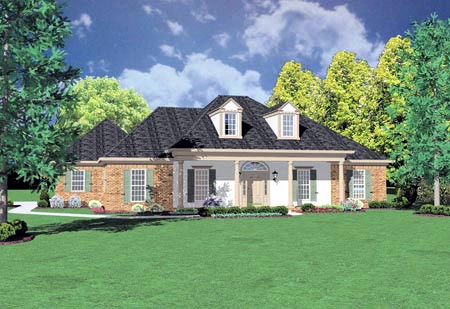 Colonial House Plan 56211 with 3 Beds, 3 Baths, 2 Car Garage Elevation