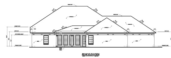 Colonial House Plan 56219 Rear Elevation