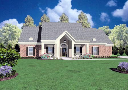 Contemporary, One-Story House Plan 56250 with 4 Beds, 3 Baths, 2 Car Garage Elevation