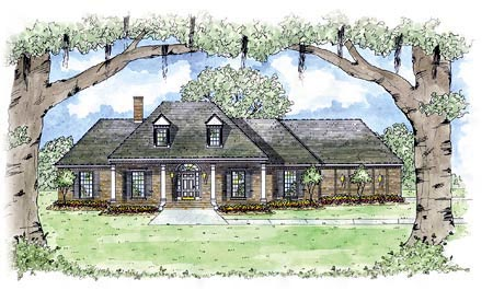 Colonial, One-Story House Plan 56251 with 3 Beds, 3 Baths, 2 Car Garage Elevation