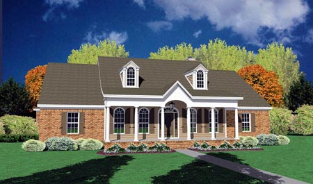 Colonial, One-Story House Plan 56252 with 4 Beds , 2 Baths , 2 Car Garage Elevation