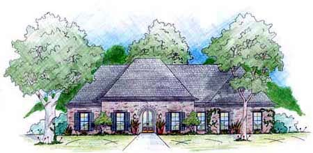 European House Plan 56254 with 5 Beds, 3 Baths, 2 Car Garage Elevation