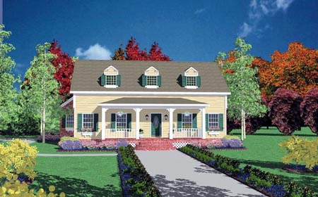 Country, One-Story House Plan 56265 with 4 Beds, 3 Baths, 2 Car Garage Elevation