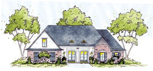 European House Plan 56267 Elevation