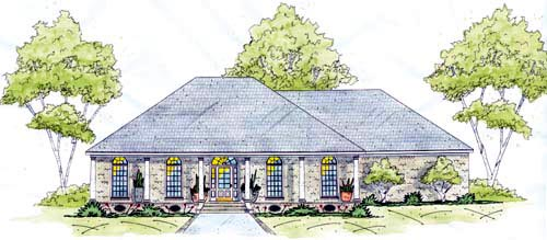 European One-Story Elevation of Plan 56268