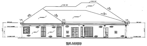 European One-Story Rear Elevation of Plan 56268