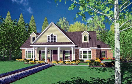 Country, One-Story House Plan 56277 with 3 Beds, 3 Baths, 2 Car Garage Elevation