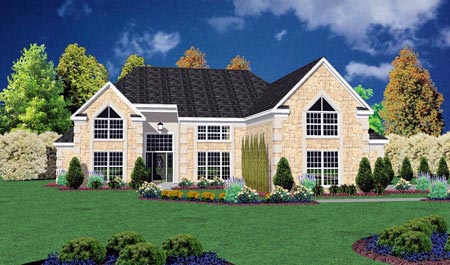 One-Story, Traditional House Plan 56281 with 3 Beds, 3 Baths, 2 Car Garage Elevation