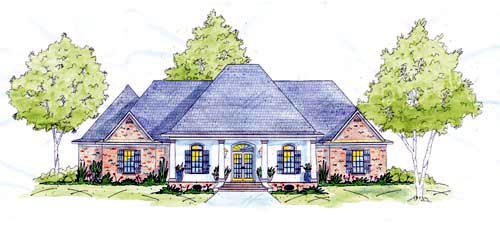 European One-Story Elevation of Plan 56286