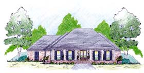 House Plan 56288 with 4 Beds, 3 Baths, 2 Car Garage Elevation